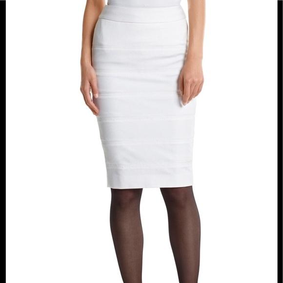 White House Black Market Dresses & Skirts - WHBM White Ponte Banded Pencil Skirt